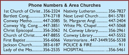 North Conway, NH Phone Numbers and Area Churches